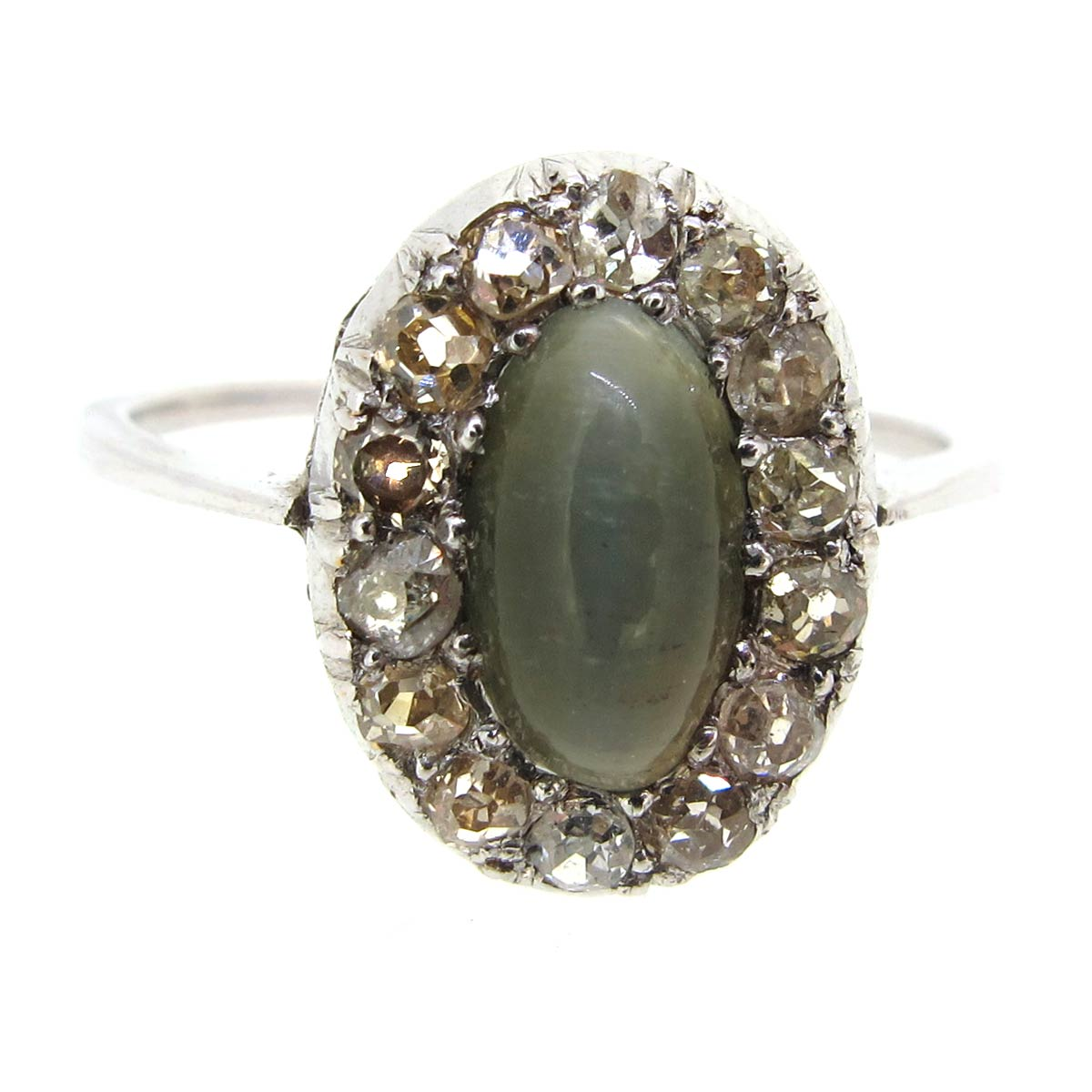 Chrysoberyl & Diamond Oval Halo Ring
