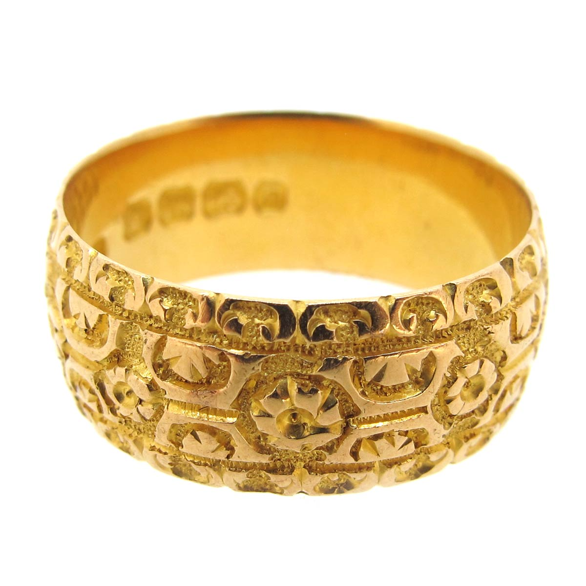 Carved Wide Gold Ring