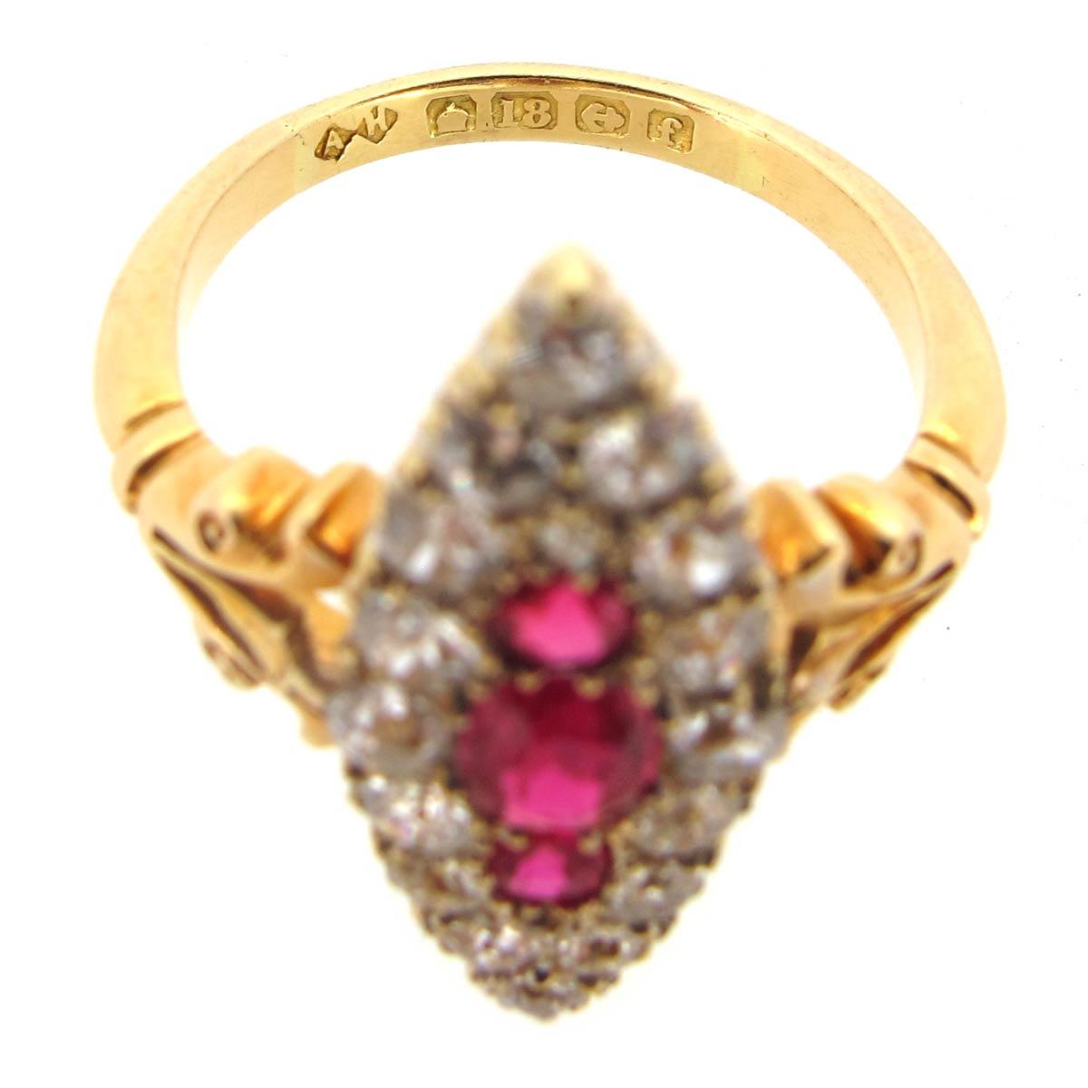 Ruby & Diamond Navette Ring