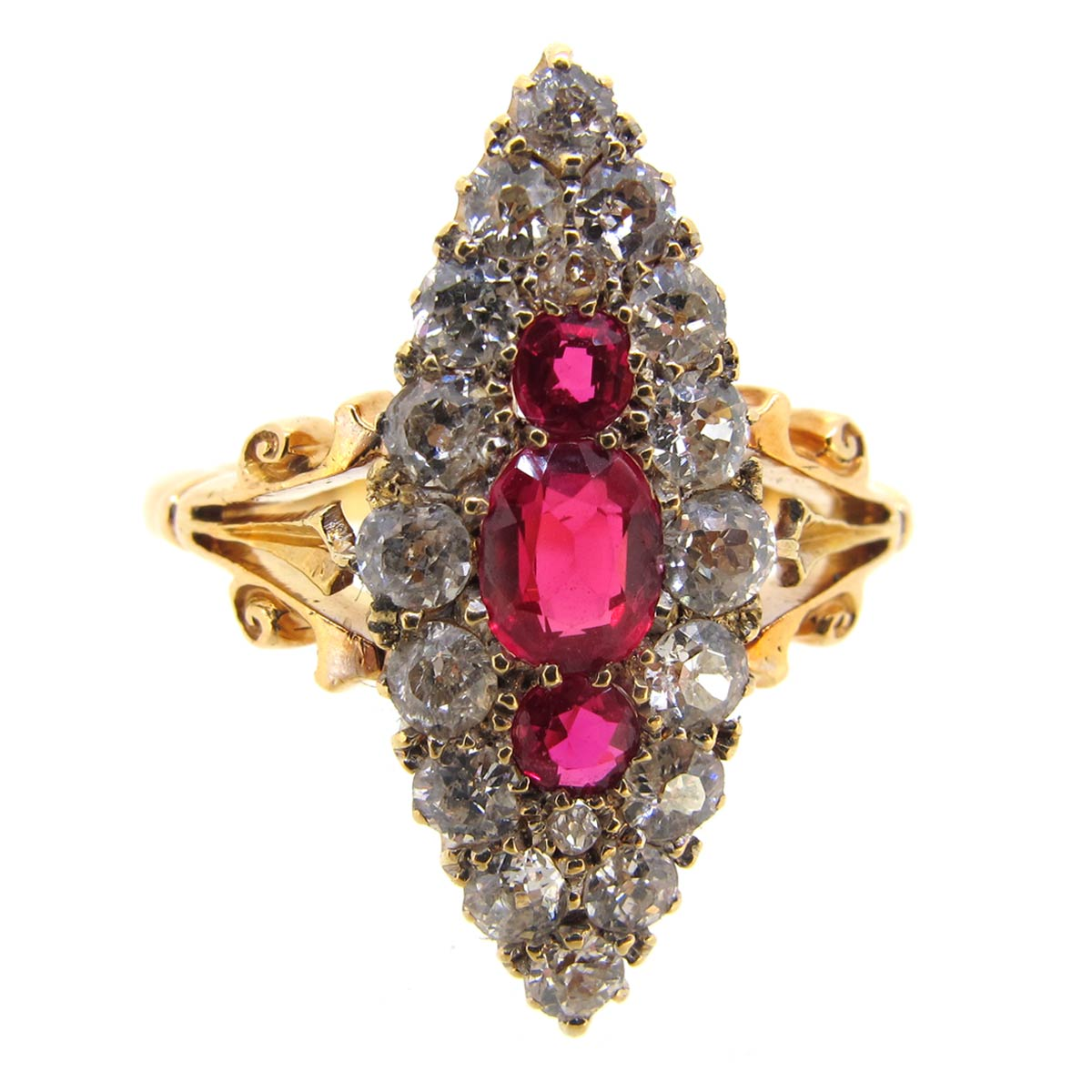 Ruby & Diamond Navette Ring