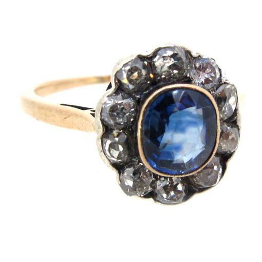 Sapphire & Diamond Halo Ring