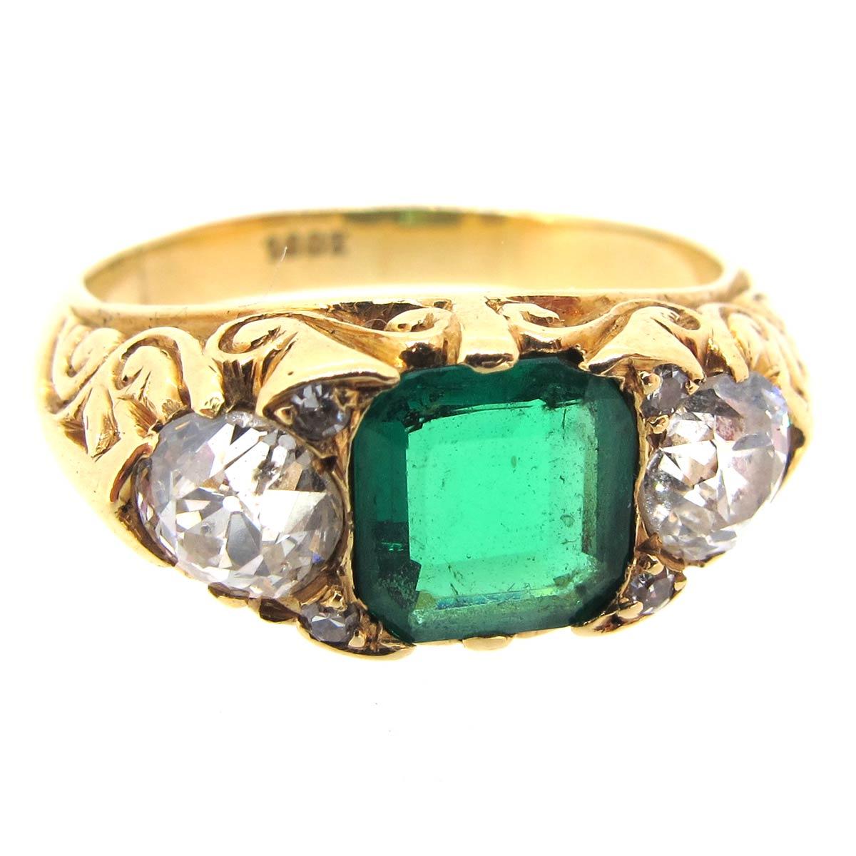Emerald & Diamond Carved Half Hoop Ring