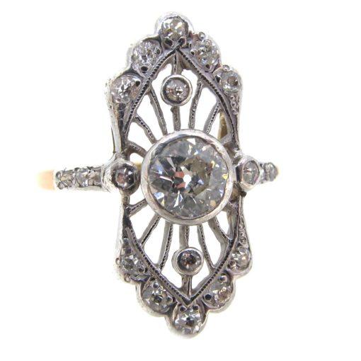 Art Deco Diamond Tablet Ring