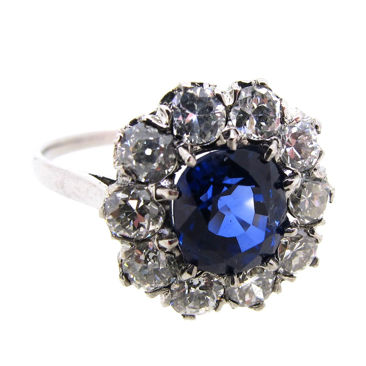 Sapphire & Diamond Halo Cluster Ring