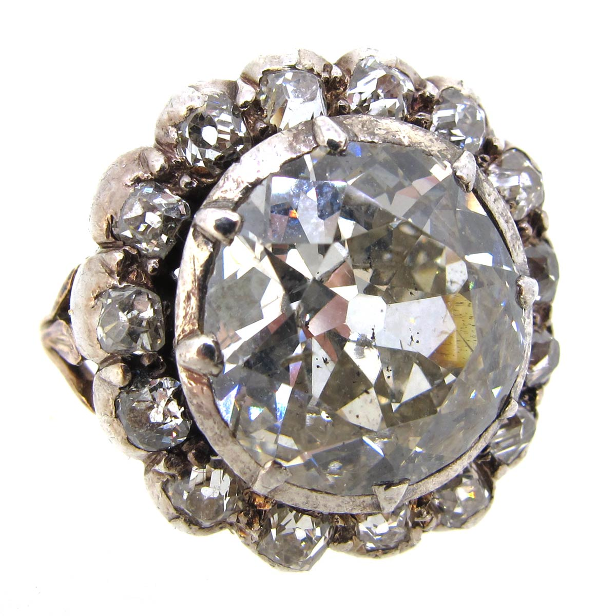 Antique Diamond Halo Cluster Ring