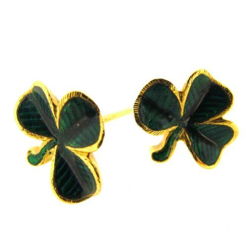 Gold & enamel shamrock earrings