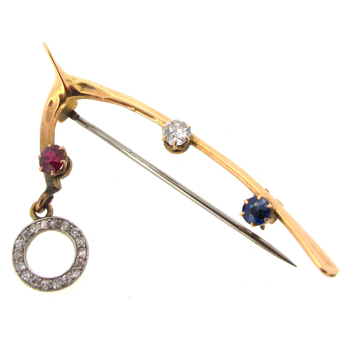 Gold & Gem Wishbone Brooch
