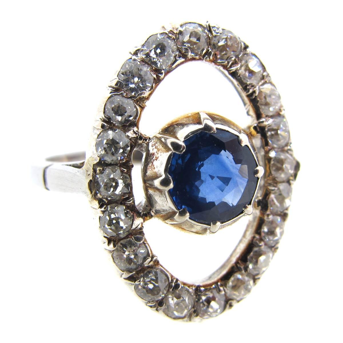 Sapphire & Diamond Edwardian Ring