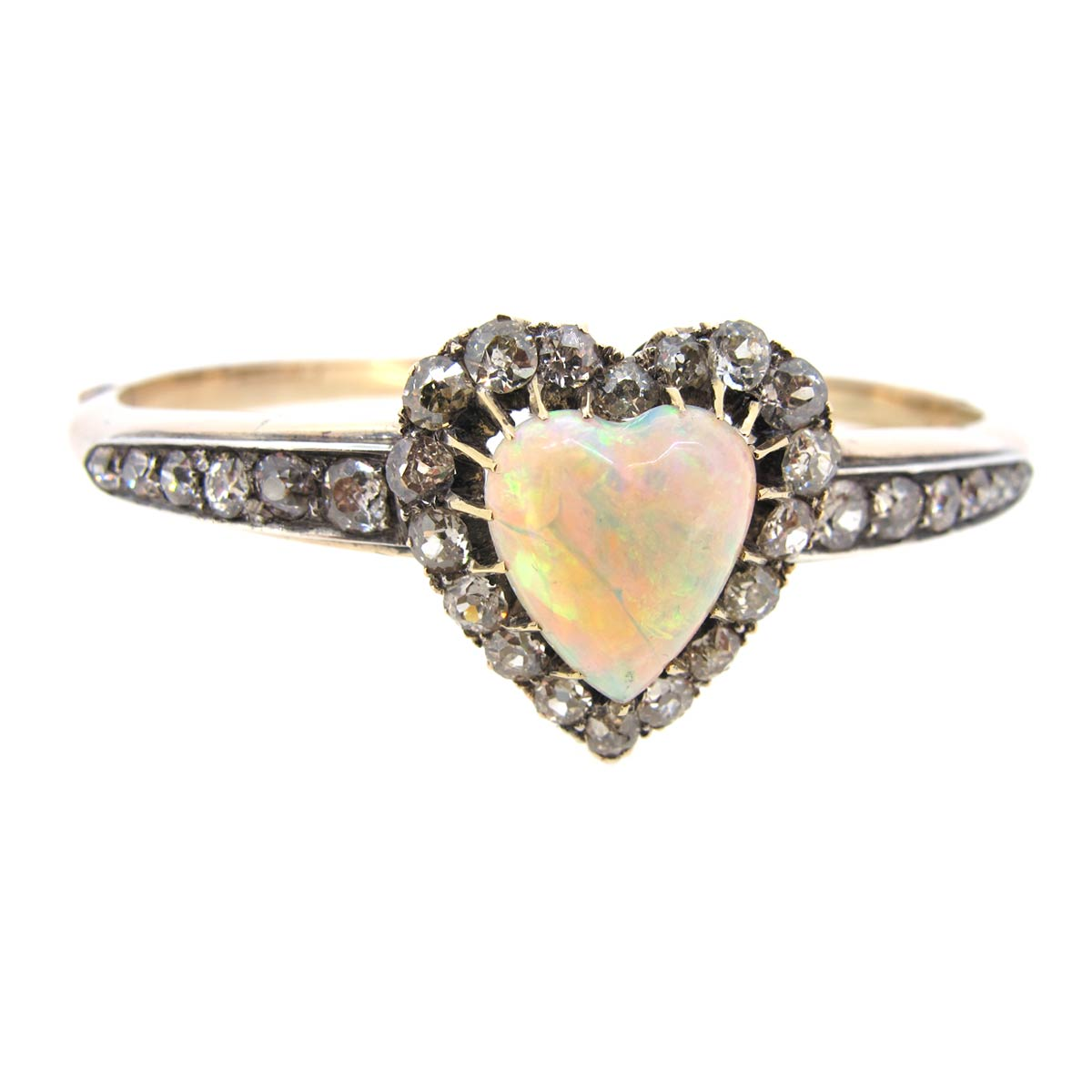 Opal & Diamond Heart Bangle